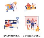 set unpacking parcel  mail... | Shutterstock .eps vector #1690843453
