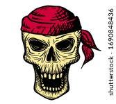 Hand Drawn Skull Of A Dead Man...