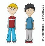 vector cartoon boy isolated on...   Shutterstock .eps vector #169086233