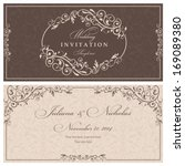 Wedding invitation cards baroque style brown and beige. Vintage Pattern. Retro Victorian ornament. Frame with flowers elements. Vector illustration. | Shutterstock vector #169089380