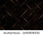 golden shiny lines on black... | Shutterstock .eps vector #1690908550