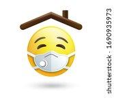 stay home sticker emoji  house... | Shutterstock .eps vector #1690935973