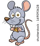 vector illustration of cartoon rat - stock vector