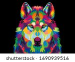 Colorful Wolf\'s Head  On A...
