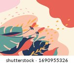 abstract background with floral ... | Shutterstock .eps vector #1690955326