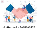 handshake .hands of different... | Shutterstock .eps vector #1690969309