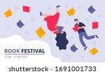book festival concept. young... | Shutterstock .eps vector #1691001733