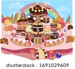 candy castle   video game... | Shutterstock .eps vector #1691029609