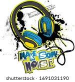 headphones print. hand drawn... | Shutterstock .eps vector #1691031190