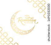 ramadan greeting card with... | Shutterstock .eps vector #1691032030