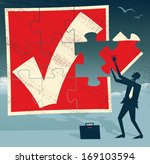 Abstract Businessman with Missing Piece of Puzzle. Great illustration of Retro styled Businessman holding up the final Missing Piece of a huge Jigsaw Puzzle.   - stock vector