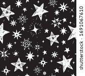 hand drawn white stars on a...