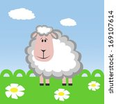 cartoon sheep on the meadow.... | Shutterstock .eps vector #169107614