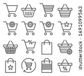 shopping cart and bags icons... | Shutterstock .eps vector #1691099563
