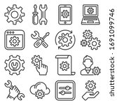settings icons set on white...   Shutterstock .eps vector #1691099746
