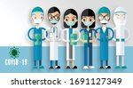 doctors and nurses working in... | Shutterstock .eps vector #1691127349