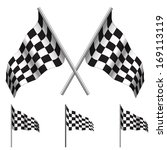 crossed checkered flags  racing ... | Shutterstock . vector #169113119