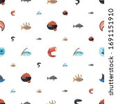 fish icons pattern seamless.... | Shutterstock .eps vector #1691151910