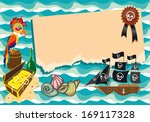 template with pirate ship ... | Shutterstock . vector #169117328