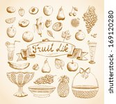 sketches of juicy fresh fruits... | Shutterstock .eps vector #169120280