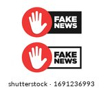 Fake News Vector Icon Stamp....