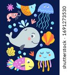 cute fishes and sea animals... | Shutterstock .eps vector #1691273530