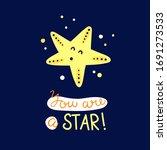 starfish vector card for kids.... | Shutterstock .eps vector #1691273533