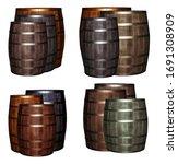 mix of oak barrels gray and... | Shutterstock . vector #1691308909