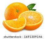 Orange Fruit And Slice Half...