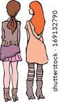 2 girls back view | Shutterstock .eps vector #169132790