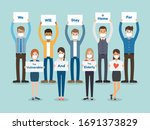 young women and young men ... | Shutterstock .eps vector #1691373829