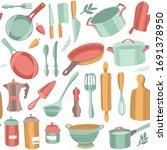 kitchenware and utensils.... | Shutterstock .eps vector #1691378950