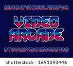 video arcade alphabet font.... | Shutterstock .eps vector #1691393446