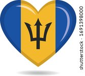 barbados national flag in heart ... | Shutterstock .eps vector #1691398000
