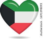 kuwait national flag in heart... | Shutterstock .eps vector #1691398093