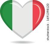 italy national flag in heart... | Shutterstock .eps vector #1691398120