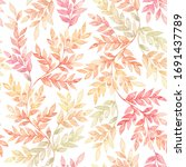 botanical watercolor seamless...   Shutterstock . vector #1691437789