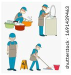 man cleaning floor and dishes... | Shutterstock .eps vector #1691439463