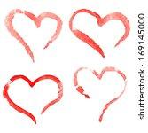 watercolor hearts  vector set | Shutterstock .eps vector #169145000