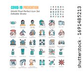 simple set of coronavirus... | Shutterstock .eps vector #1691485213
