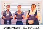 criminals with mugshot plates... | Shutterstock .eps vector #1691542666