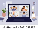 stay and work from home. video... | Shutterstock .eps vector #1691557579