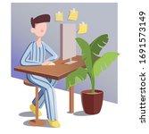 freelancer in striped pajama... | Shutterstock .eps vector #1691573149