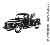 old vintage tow truck vector... | Shutterstock .eps vector #1691603179