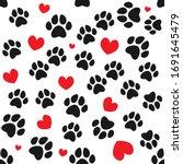 Animal Paws And Hearts Seamless ...