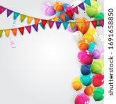 color glossy happy birthday... | Shutterstock . vector #1691658850
