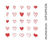 doodle hearts  hand drawn love...   Shutterstock .eps vector #1691694106