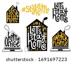 stay home  work at home  home... | Shutterstock . vector #1691697223