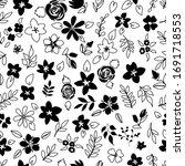 floral pattern outlines black... | Shutterstock .eps vector #1691718553
