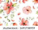 Seamless Pattern Of Poppy Drawn ...